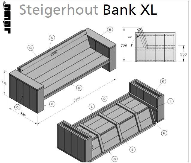 Steigerhout bouwtekening meubelen for Praxis tuinmeubelen